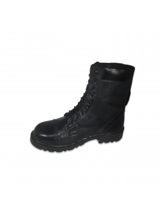 Long Leather Army Black Boot With Toe # 517
