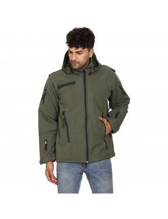 Olive Green 12 Chain 10 Pockets Fleece Lining Water Proof / Wind Proof Jacket