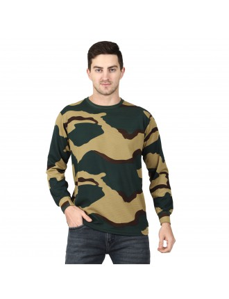 Militia Striped Men Round Neck Cotrise BSF Full sleeves Muliticolor T Shirt