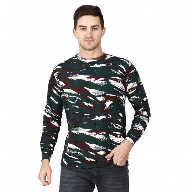 Militia Printed Men Round Neck Cotrise CRPF Full Sleeves Multicolor T Shirt