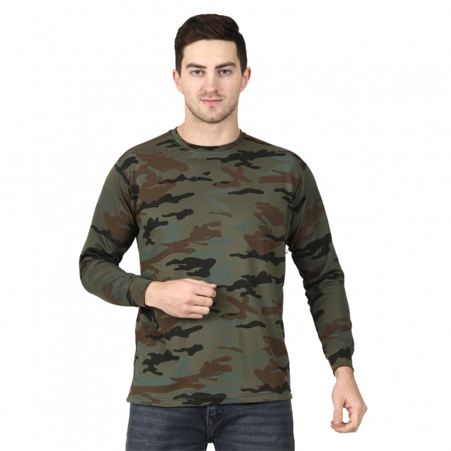 Miltia Military Camouflage Men Round Neck Cotrise Yodha full sleeves Multicolor T Shirt