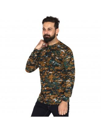 Militia Solid Men Round Neck Drifit Cobra Pattern full sleeves Multicolor T Shirt
