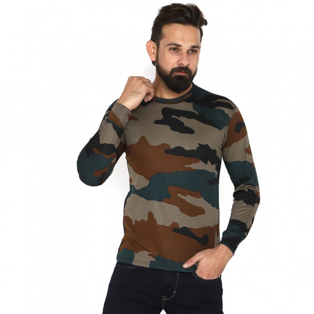 Miltia Military INDIAN ARMY Drifit Camouflage Men Round Neck full sleeves Multicolor T Shirt