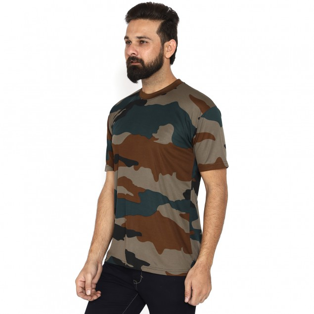 Militia Solid Men Round Neck Indian Army Drifit half sleeves Multicolor T Shirt