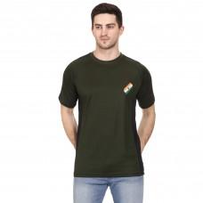 Militia Printed Men Round Neck Dark Green, Black T-Shirt