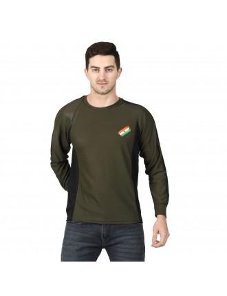 Militia Printed Men Round Neck OLIVE GREEN DRIFIT T SHIRT