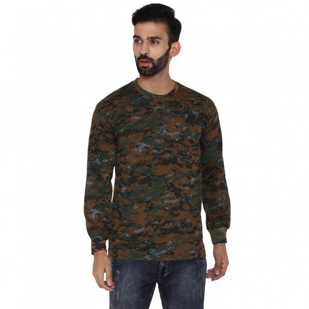 Miltia Military Camouflage Men Round Neck Pure Cotton Cobra Pattern Green T Shirt