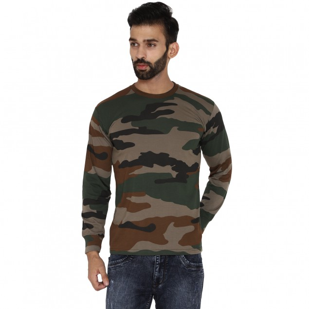 Militia Military Camouflage Men Round Neck Indian Army Printed full sleeves Muliticolor T Shirt