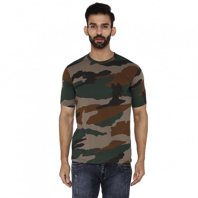 Militia Printed Military Camouflage Men Round Neck Indian Army half sleeves Muliticolor T Shirt