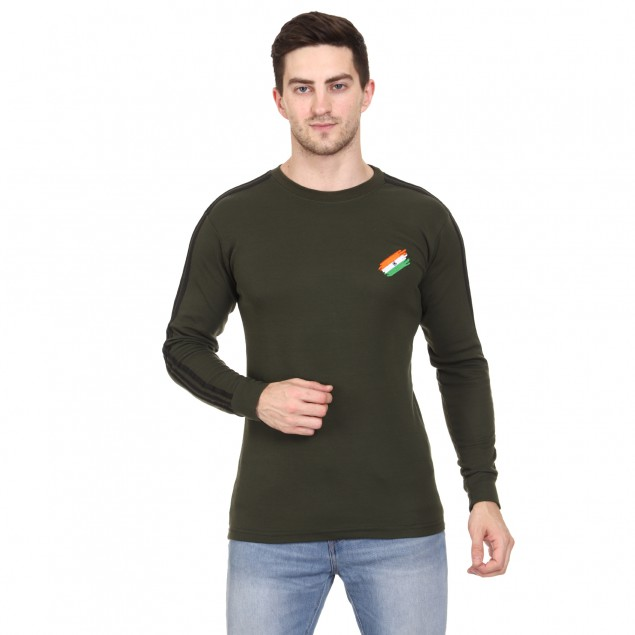 Militia Solid Men Round Neck Green T-Shirt