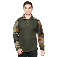 Military Camouflage Men Collared Neck Multicolor T-Shirt